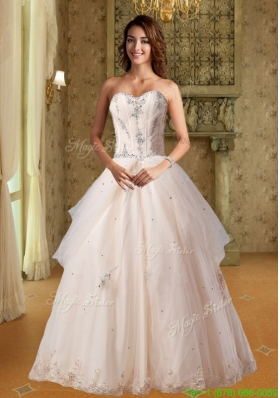 Summer Champagne Sweetheart A Line Wedding Dress With Appliques