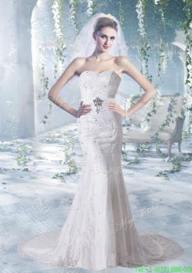 Sweetheart Lace and Elastic Woven Satin Court Train Sheath Wedding Gowns With Beading