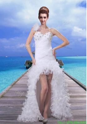 2015 Fall Romantic High Low Beading Wedding Dress For Beach