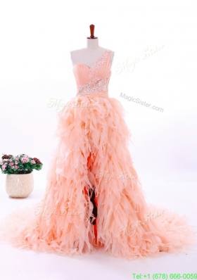 2015 Winter Romantic A Line One Shoulder Ruffles Wedding Gowns in Watermelon Red