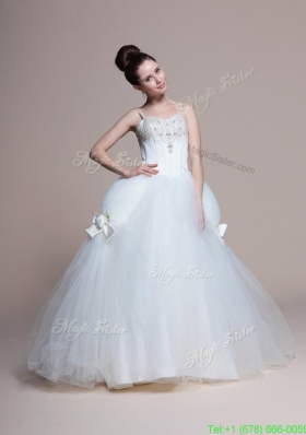 2016 Perfect A Line Straps Beading Wedding Dresses with Bowknot
