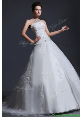 2016 Spring Appliques Ball Gown Court Train Wedding Dress with Strapless
