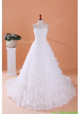 2016 Spring Custom Made A Line Sweetheart Wedding Dresses with Appliques