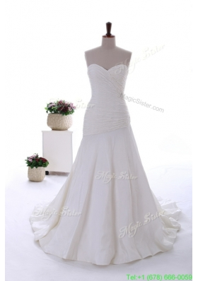 2016 Spring Exquisite Beading White Wedding Dress with Court Train