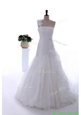 2016 Spring Gorgeous Hand Made Flowers and Ruffles Brush Train Wedding Dresses