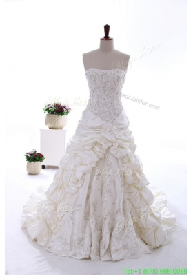 2016 Spring Most Popular Beading and Embroidery Court Train Wedding Dresses