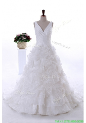 2016 Spring Most Popular Ruffles Wedding Dresses with Court Train