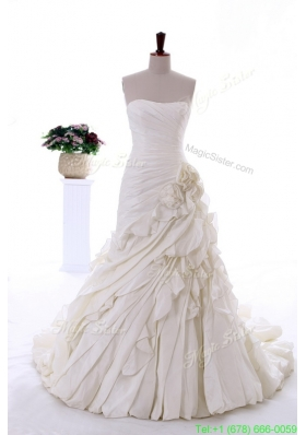 2016 Summer Exquisite Hand Made Flowers and Ruffles Wedding Dresses with Brush Train