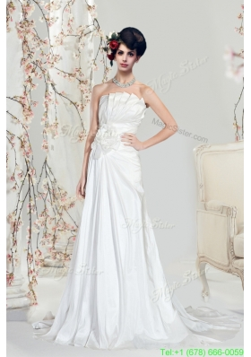 A Line Strapless Hand Made Flower Wedding Dresses with Court Train