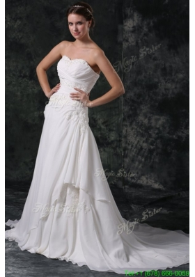 A line Sweetheart Beading and Lace Chiffon Wedding Dress with Court Train