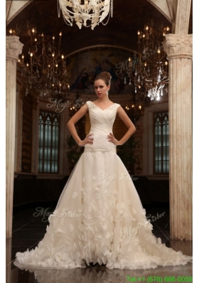 A Line V Neck Court Train Ruching Zipper Up Tulle Wedding Dress