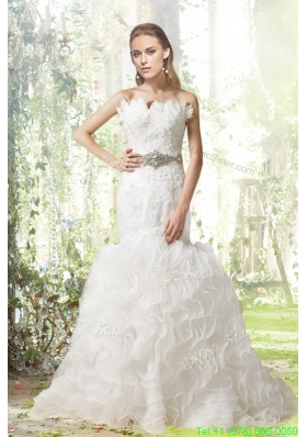 Beautiful Mermaid Court Train Wedding Dress with Beading