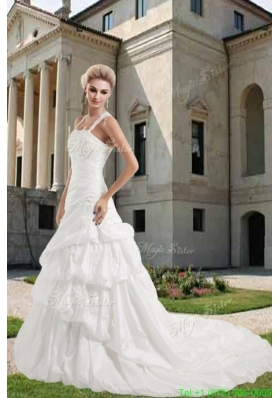 Beautiful Straps Court Train Appliques Wedding Dress with Criss Cross