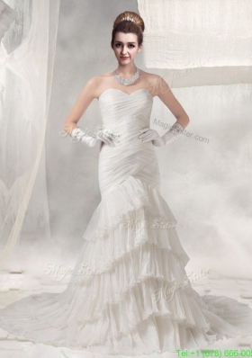 Cheap Mermaid Custom Made Ruffled Layers Wedding Dress with Sweetheart