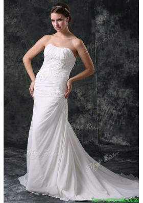 Column Strapless Beading Chiffon Court Train Lace Up Wedding Dress