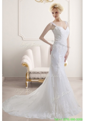 Elegant Mermaid Straps Zipper Up Wedding Dress with Lace Appliques