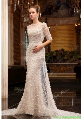 Fall Column High Neck Zipper Up Tulle Wedding Dress with Half Sleeves
