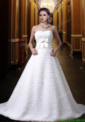 Fall Gorgeous A Line Sweetheart Bowknot Wedding Dress wth Beading