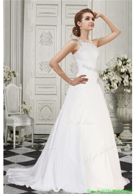 Fall Simple A Line One Shoulder Court Train Wedding Dress  with Beading