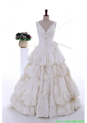 Fashionable 2016 Beading Appliques Wedding Dress with Court Train