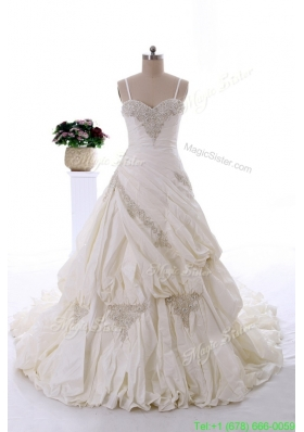 Fashionable 2016 Beading Wedding Dresses with Chapel Train