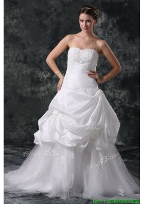 Luxurious A Line Sweetheart Appliques and Beading Lace Up Wedding Dress