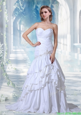 Mermaid Appliques Court Train Wedding Dress with Sweetheart