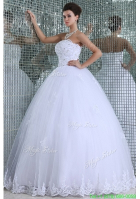 New Arrival Ball Gown Strapless Floor length Wedding Dress with Appliques