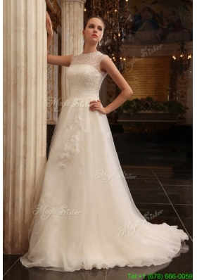 New Arrival Column Halter Beading Brush Train Organza Wedding Dress