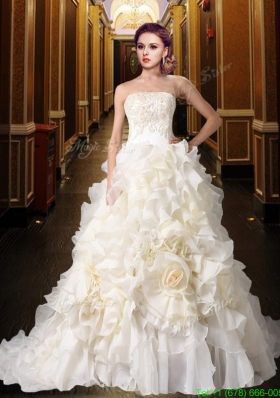 New Arrival Gorgeous Princess Strapless Ruffles Wedding Dresses with Chapel Train