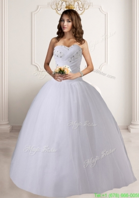 New Arrival Puffy Sweetheart Floor Length Wedding Dresses with Beading