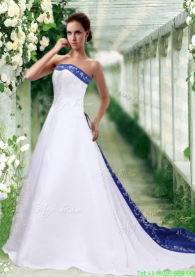 New Arrival Sophisticated Strapless A Line Court Train Wedding Dress with Embroidery