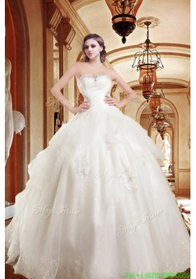 On Sale Appliques Strapless Chapel Train Wedding Dresses with Beading