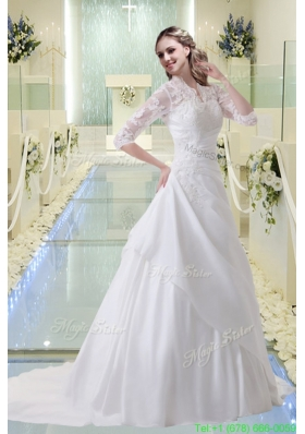 Princess Appliques V Neck Court Train Wedding Dress with Long Sleeves