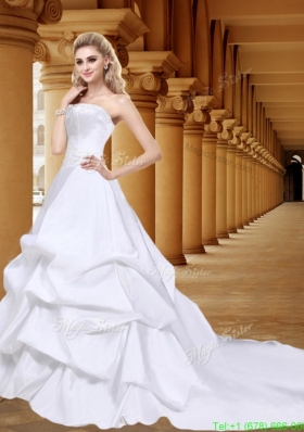 Spring Elegant Strapless A Line Wedding Dress with Court Train