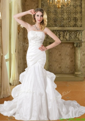 Spring Fashionable Mermaid Strapless Court Train Appliques Wedding Dresses