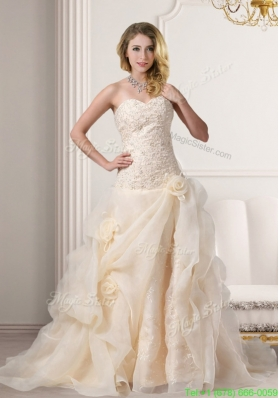 Summer A Line Embroidery Sweetheart Brush Train Wedding Dress in Champagne