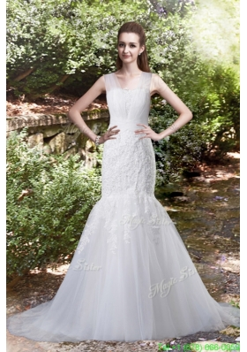 Summer Elegant Mermaid Brush Train Lace Wedding Dress with V Neck