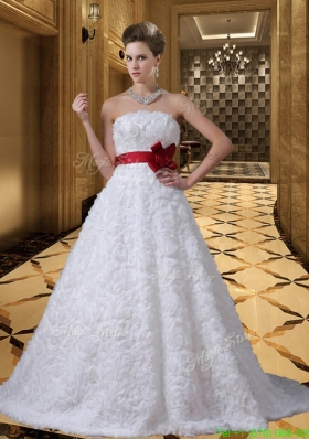 Winter Beautiful Strapless Sashes Brush Train Rolling Flower Wedding Dresses