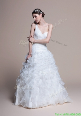 Winter Classical A Line One Shoulder Wedding Dresses with Ruffles