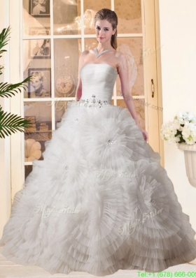 Winter Most Popular Puffy Strapless Beading Wedding Dresses with Floor length