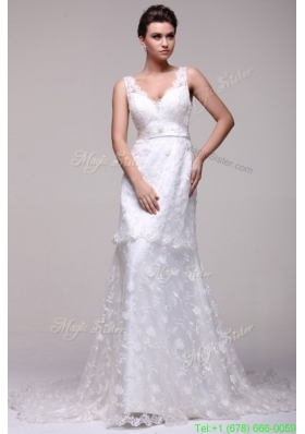 Winter V neck A line Lace Court Train Wedding Dress with Beading on Sash