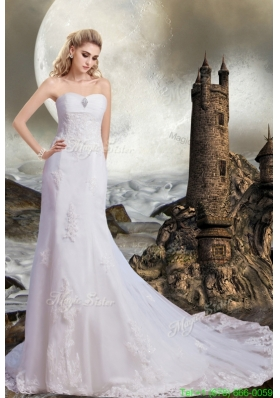 2015 Winter New Style Chapel Train Sweetheart Beading Lace Wedding Dresses