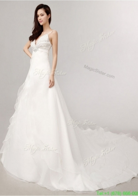 2016 Romantic A Line Spaghetti Straps Court Train Wedding Dress with Beading