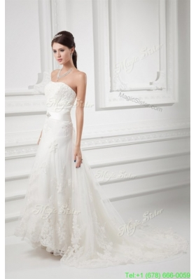 2016 Spring A-line Strapless Beading and Lace Court Train Wedding Dress