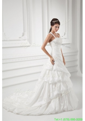 2016 Spring A-line Straps Appliques and Pick-ups Court Train Wedding Dress