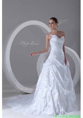 2016 Spring Exquisite Ball Gown One Shoulder Court Train Lace Taffeta Wedding Dress