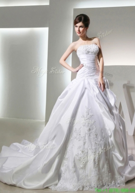 2016 Spring Luxurious Ball Gown Strapless Wedding Dress with Appliques and Ruching
