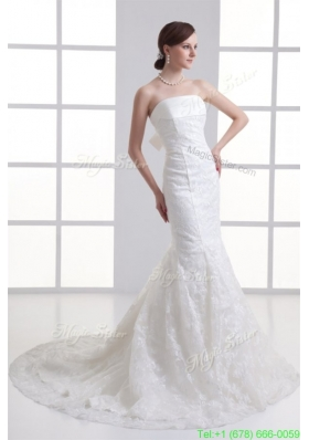2016 Spring Mermaid Strapless Court Train Wedding Dress with Zipper Up