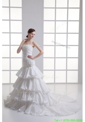 2016 Spring Mermaid Strapless Ruffled Layers Appliques Chapel Train Wedding Dress